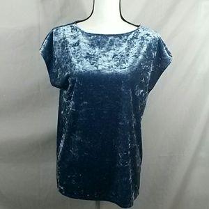 Crushed velvet short sleeve blue Vince Camuto top
